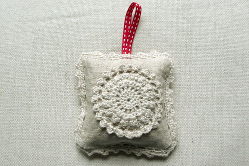 Crochet lavender bag