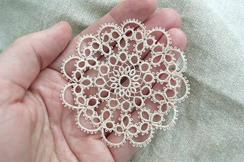 Doily in hand
