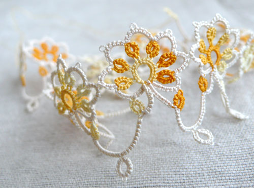 Yellow and white tatting